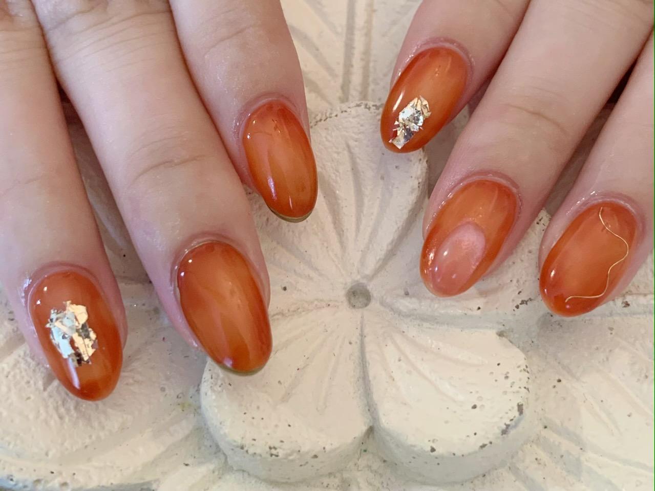 オレンジ 囲みグラデネイル